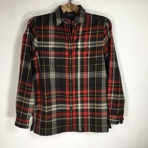 LRL Red Plaid Worsted Wool Shirt Small